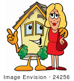 #24256 Clip Art Graphic Of A Yellow Residential House Cartoon Character Talking To A Pretty Blond Woman