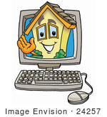 #24257 Clip Art Graphic of a Yellow Residential House Cartoon Character Waving From Inside a Computer Screen by toons4biz