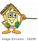 #24258 Clip Art Graphic Of A Yellow Residential House Cartoon Character Holding A Pointer Stick