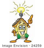 #24259 Clip Art Graphic Of A Yellow Residential House Cartoon Character With A Bright Idea