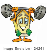 #24261 Clip Art Graphic Of A Yellow Residential House Cartoon Character Holding A Heavy Barbell Above His Head