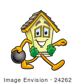 #24262 Clip Art Graphic Of A Yellow Residential House Cartoon Character Holding A Bowling Ball