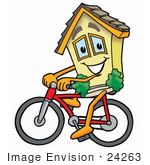 #24263 Clip Art Graphic Of A Yellow Residential House Cartoon Character Riding A Bicycle