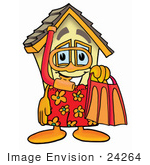 #24264 Clip Art Graphic Of A Yellow Residential House Cartoon Character In Orange And Red Snorkel Gear
