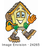 #24265 Clip Art Graphic Of A Yellow Residential House Cartoon Character Hiking And Carrying A Backpack