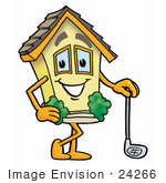 #24266 Clip Art Graphic Of A Yellow Residential House Cartoon Character Leaning On A Golf Club While Golfing