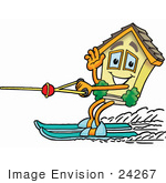 #24267 Clip Art Graphic Of A Yellow Residential House Cartoon Character Waving While Water Skiing
