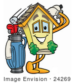 #24269 Clip Art Graphic Of A Yellow Residential House Cartoon Character Swinging His Golf Club While Golfing