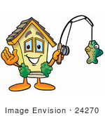 #24270 Clip Art Graphic Of A Yellow Residential House Cartoon Character Holding A Fish On A Fishing Pole
