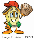 #24271 Clip Art Graphic Of A Yellow Residential House Cartoon Character Catching A Baseball With A Glove