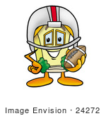 #24272 Clip Art Graphic Of A Yellow Residential House Cartoon Character In A Helmet Holding A Football