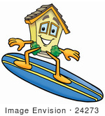 #24273 Clip Art Graphic Of A Yellow Residential House Cartoon Character Surfing On A Blue And Yellow Surfboard