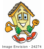 #24274 Clip Art Graphic Of A Yellow Residential House Cartoon Character Walking