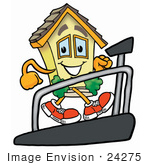 #24275 Clip Art Graphic Of A Yellow Residential House Cartoon Character Walking On A Treadmill In A Fitness Gym