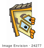 #24277 Clip Art Graphic Of A Yellow Residential House Cartoon Character Peeking Around A Corner