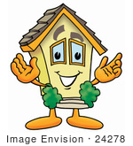 #24278 Clip Art Graphic Of A Yellow Residential House Cartoon Character With Welcoming Open Arms