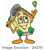 #24279 Clip Art Graphic Of A Yellow Residential House Cartoon Character Preparing To Hit A Tennis Ball