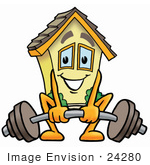 #24280 Clip Art Graphic Of A Yellow Residential House Cartoon Character Lifting A Heavy Barbell