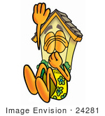 #24281 Clip Art Graphic Of A Yellow Residential House Cartoon Character Plugging His Nose While Jumping Into Water