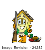 #24282 Clip Art Graphic Of A Yellow Residential House Cartoon Character Duck Hunting Standing With A Rifle And Duck