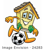 #24283 Clip Art Graphic Of A Yellow Residential House Cartoon Character Kicking A Soccer Ball