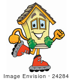 #24284 Clip Art Graphic Of A Yellow Residential House Cartoon Character Roller Blading On Inline Skates