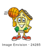 #24285 Clip Art Graphic Of A Yellow Residential House Cartoon Character Spinning A Basketball On His Finger
