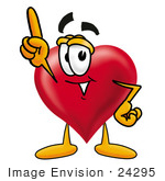 #24295 Clip Art Graphic Of A Red Love Heart Cartoon Character Pointing Upwards