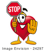 #24297 Clip Art Graphic Of A Red Love Heart Cartoon Character Holding A Stop Sign