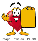 #24299 Clip Art Graphic of a Red Love Heart Cartoon Character Holding a Yellow Sales Price Tag by toons4biz