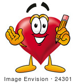 #24301 Clip Art Graphic Of A Red Love Heart Cartoon Character Holding A Pencil