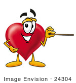 #24304 Clip Art Graphic Of A Red Love Heart Cartoon Character Holding A Pointer Stick