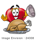 #24308 Clip Art Graphic Of A Red Love Heart Cartoon Character Serving A Thanksgiving Turkey On A Platter