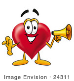 #24311 Clip Art Graphic Of A Red Love Heart Cartoon Character Holding A Megaphone
