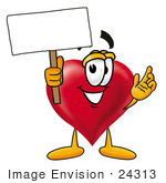 #24313 Clip Art Graphic Of A Red Love Heart Cartoon Character Holding A Blank Sign