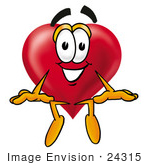 #24315 Clip Art Graphic of a Red Love Heart Cartoon Character Sitting by toons4biz