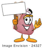 #24327 Clip Art Graphic Of A Human Heart Cartoon Character Holding A Blank Sign