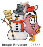 #24344 Clip Art Graphic Of A Human Heart Cartoon Character With A Snowman On Christmas