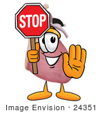 #24351 Clip Art Graphic Of A Human Heart Cartoon Character Holding A Stop Sign