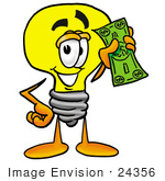 #24356 Clip Art Graphic of a Yellow Electric Lightbulb Cartoon Character Holding a Dollar Bill by toons4biz