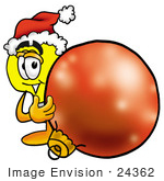 #24362 Clip Art Graphic Of A Yellow Electric Lightbulb Cartoon Character Wearing A Santa Hat Standing With A Christmas Bauble