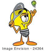 #24364 Clip Art Graphic Of A Yellow Electric Lightbulb Cartoon Character Preparing To Hit A Tennis Ball