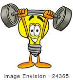 #24365 Clip Art Graphic of a Yellow Electric Lightbulb Cartoon Character Holding a Heavy Barbell Above His Head by toons4biz