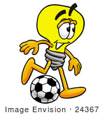#24367 Clip Art Graphic Of A Yellow Electric Lightbulb Cartoon Character Kicking A Soccer Ball