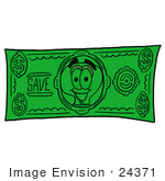 #24371 Clip Art Graphic Of A Yellow Electric Lightbulb Cartoon Character On A Dollar Bill