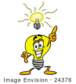#24376 Clip Art Graphic Of A Yellow Electric Lightbulb Cartoon Character With A Bright Idea