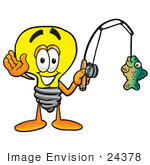 #24378 Clip Art Graphic Of A Yellow Electric Lightbulb Cartoon Character Holding A Fish On A Fishing Pole