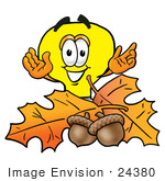 #24380 Clip Art Graphic Of A Yellow Electric Lightbulb Cartoon Character With Autumn Leaves And Acorns In The Fall