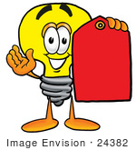 #24382 Clip Art Graphic of a Yellow Electric Lightbulb Cartoon Character Holding a Red Sales Price Tag by toons4biz