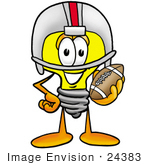 #24383 Clip Art Graphic Of A Yellow Electric Lightbulb Cartoon Character In A Helmet Holding A Football